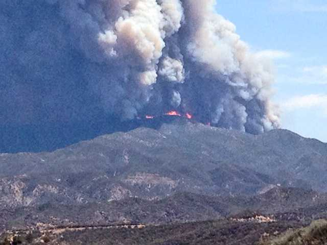 This photo shows the view of the Powerhouse Fire from Lake Hughes Road. Photo courtesy of James Starkey.