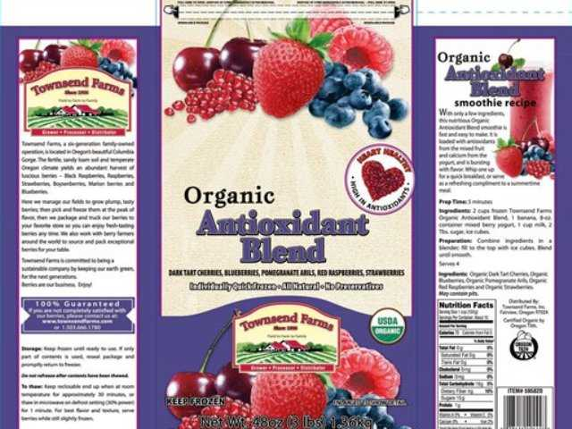 This handout image provided by the Food and Drug Administration (FDA) shows the label of Townsend Farms of Fairview, Ore., Organic Antioxidant Blend, packaged under the Townsend Farms label at Costco and under the Harris Teeter brand at those stores.