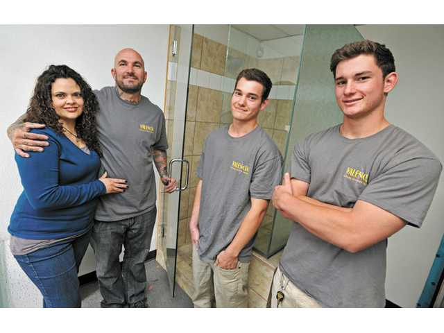 From left, Christy Crawford, Stuart Crawford, Mike O'Hara and Corey Kiefer of Valencia Custom Shower Doors.