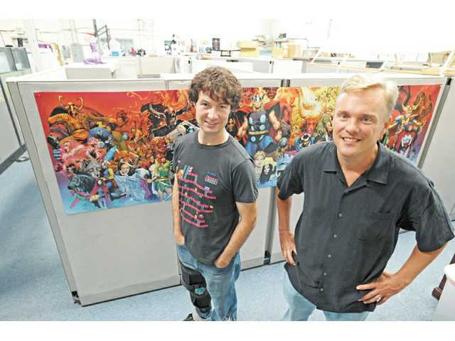 Voldi Way, left, and John Beck of WayForward in their Valencia studio in 2012. WayForward is a local tech company that creates video games. It has continued to grow through the recession and reached more than 100 employees last year.