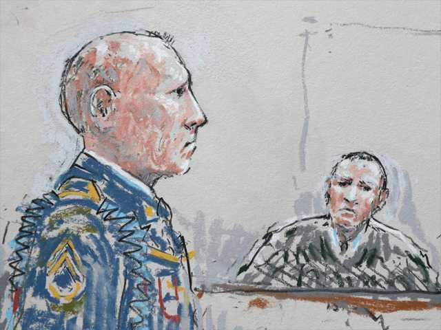 In this detail from a courtroom sketch, U.S. Army Staff Sgt. Robert Bales, left, stands before military judge Col. Jeffery Nance, right, on Wednesday, during a plea hearing in a military courtroom at Joint Base Lewis-McChord in Washington state.