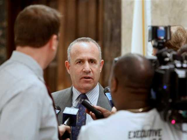 Senate President Pro Tem Darrell Steinberg, D-Sacramento, talks with reporters after a budget meeting with Gov. Jerry Brown and Assembly Speaker John Perez, D-Los Angeles at the Capitol in Sacramento, Monday.