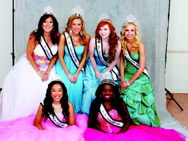 Left to right, top row, Ms. Santa Clarita Valley Brigitte Prouty, Mrs. Santa Clarita Valley Amanda Wasvary Ransdel, Miss Teen Santa Clarita Madison Summers and Miss Santa Clarita Valley Amanda Larsson-Dally. Bottom row, Little Miss SCV Alexandria Salazar and Jr. Miss SCV Brooke Dawson.