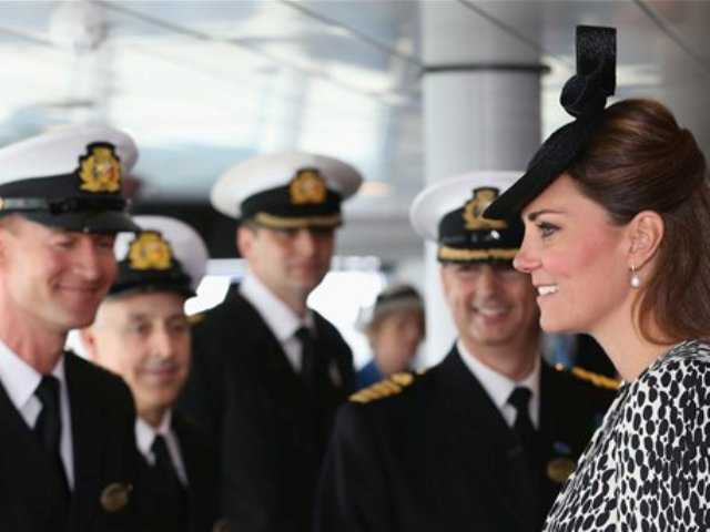 Britain's Duchess of Cambridge speaks to the crew during an on board tour during the Princess Cruises ship naming ceremony to officially name the new Royal Princess cruise liner at a gala ceremony, in Southampton, England, today.