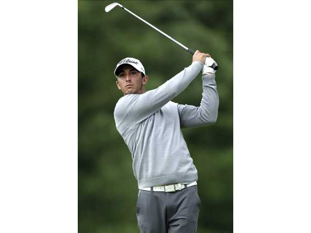 Valencia graduate Max Homa tees off on the eighth hole during the first round of the U.S. Open at Merion Golf Club on Friday.
