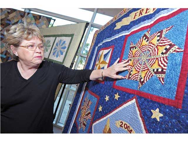 Susie Bakman has her 2004 Patriotic Quilt on display at Valencia Westfield Town Center.