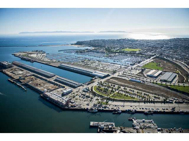 An aerial view is shown of the pier on the San Pedro waterfront in Los Angeles, which will become a future marine research center.