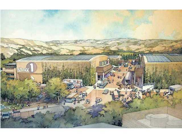 An artist's rendering of some of the sound stages proposed for construction at the Walt Disney Company's Golden Oak movie ranch in Placerita Canyon.