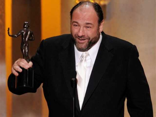 "This Jan. 27, 2008 file photo shows actor James Gandolfini accepting the award for outstanding performance by a male actor in a drama series for his work in ""The Sopranos"" at the 14th Annual Screen Actors Guild Awards in Los Angeles. HBO and the managers for Gandolfini say the actor died Wednesday, June 19, 2013, in Italy. He was 51."