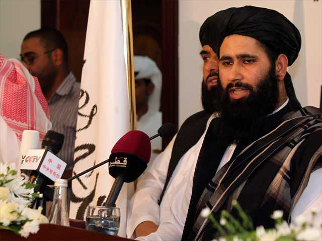 Muhammad Naeem, a representative of the Taliban, speaks during a press conference at the official opening of their office in Doha, Qatar, on Tuesday.