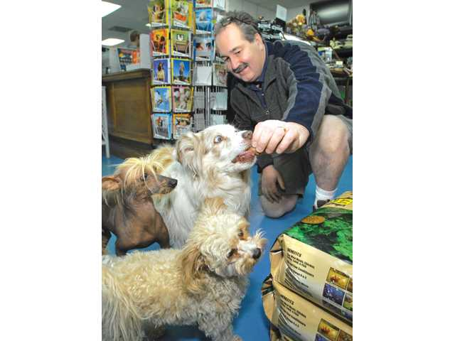 Pet Supply Santa Clarita owner, Chris Hoeflich gives resident dogs, from left, Mickey, Skye, and Sophia a nutritious treat.