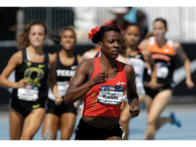 Canyon graduate Alysia Montano leads her senior women's 800-meter heat at the U.S. Championships athletics meet on Thursday in Des Moines, Iowa.