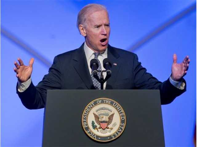 Vice President Joe Biden speaks at the 84th annual League of United Latin American Citizens convention,Thursday, in Las Vegas.