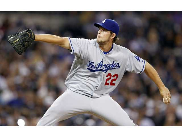 Los Angeles Dodgers starting pitcher Clayton Kershaw works against the San Diego Padres on Friday in San Diego.