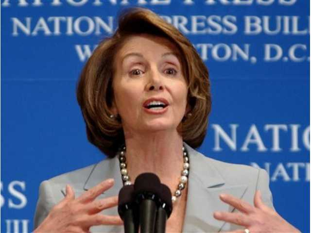 "In this Jan. 25, 2008, file photo, House Speaker Nancy Pelosi discusses ""The State of Our Union"" at the National Press Club in Washington. Some of the activists attending the annual Netroots Nation political conference Saturday booed and interrupted her when she commented on the surveillance programs carried out by the NSA."