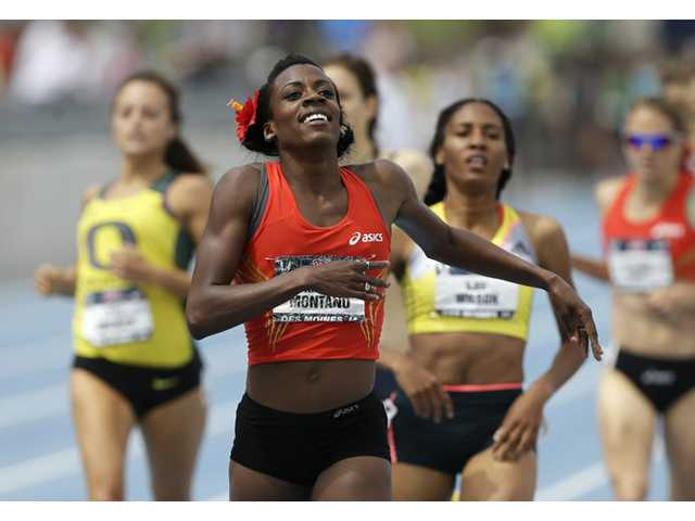 Canyon graduate Alysia Montano reacts as she wins the senior women's 800-meter run at the U.S. Championships athletics meet on Sunday in Des Moines, Iowa.