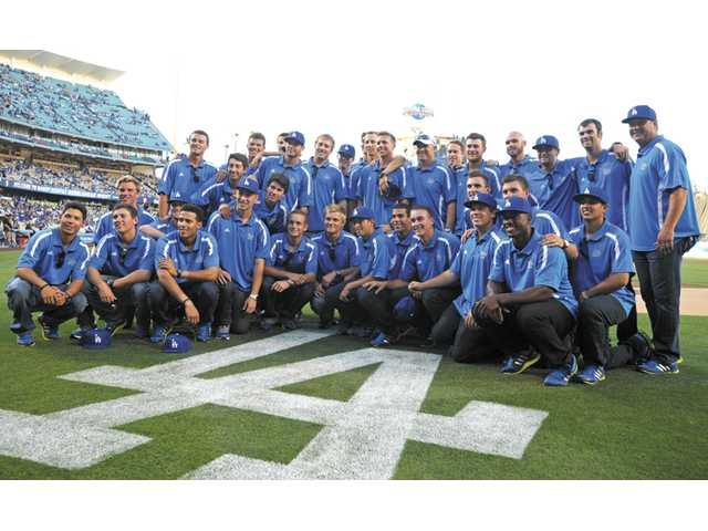 The Bruins were honored at Dodger Stadium on Thursday evening.