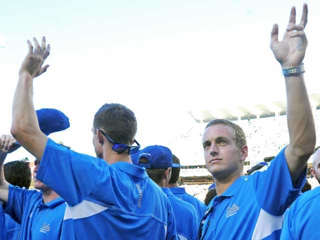 Valencia graduate Shane Zeile waves to the crowd prior to the Dodgers game against the Phillies on Thursday at Dodger Stadium. Valaika and the Bruins were honored for winning the NCAA Division I College World Series.
