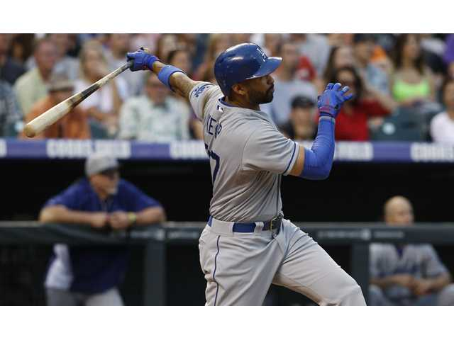 Los Angeles Dodgers outfielder Matt Kemp flies out against the Colorado Rockies in Denver on Thursday.