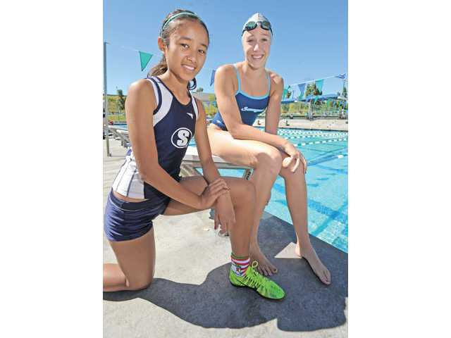 Saugus' Samantha Ortega, left and Abbey Weitzeil, both had sensational sophomore seasons.