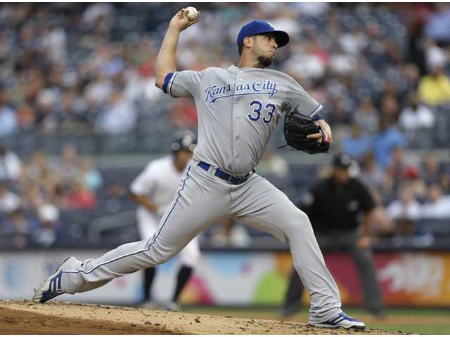 Kansas City Royals starting pitcher James Shields delivers against the New York Yankees on Tuesday in New York.