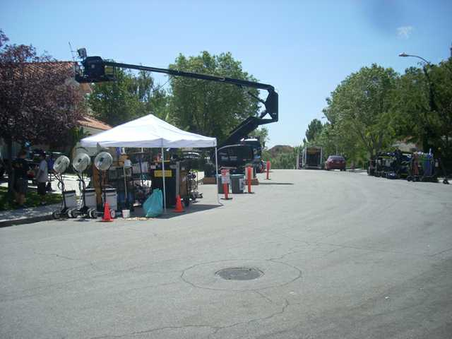 Filming of a Disney movie in September 2012 at a home on Artine Drive in Saugus.