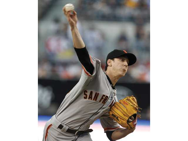 The San Francisco Giants Tim Lincecum throws against the San Diego Padres on Saturday in San Diego.