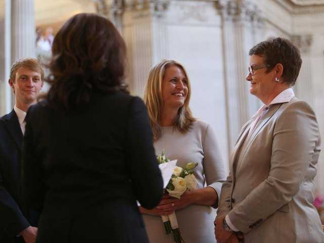 Sandy Stier, center, and Kris Perry, right are married in San Francisco on June 28. The Calif. Supreme Court refused Monday to issue an order to stop issuing marriage licenses.