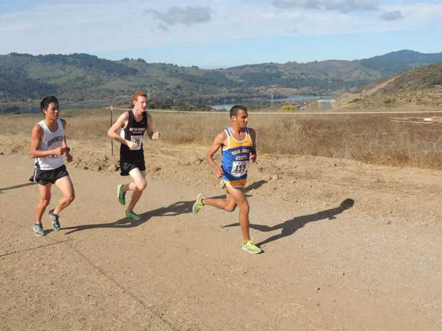 Saugus High graduate Brandon Jauregui, right, competes in a cross country race for San Jose State University. Photo courtesy San Jose State athletics
