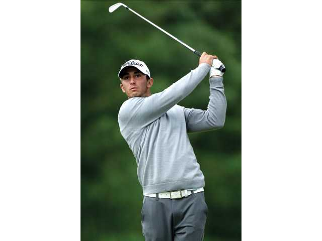 Max Homa tees off during the U.S. Open at Merion Golf Club on June 14 in Ardmore, Pa.