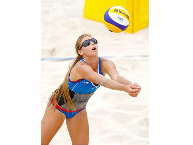 Valencia graduate Delaney Knudsen competes during day three of the FIVB Beach Volleyball U19 World Championships on Saturday in Porto, Portugal.