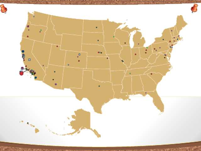 This map indicates where Santa Clarita Valley prep athletes in the class of 2013 will play this year at the college level.