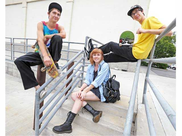 "Local teenagers, from left, Kevin Conway, Skye Elmore and Garrison Saenz, were featured in the documentary ""Only The Young."""