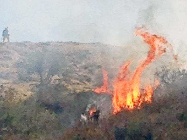 Flames consume brush on a hillside in Canyon Country on Thursday. Photo by Rick McClure for The Signal