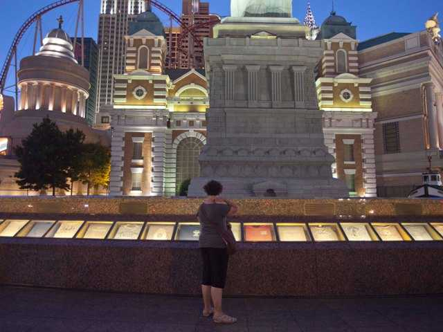 The September 11 memorial, outside the New York, New York casino in Las Vegas, has been demolished to make way for a $100 million renovation of the promenade.