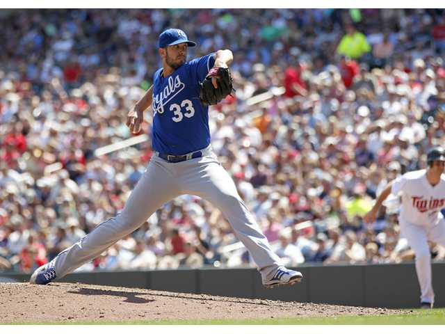 Kansas City Royals pitcher James Shields throws against the Minnesota Twins in Minneapolis on Thursday.