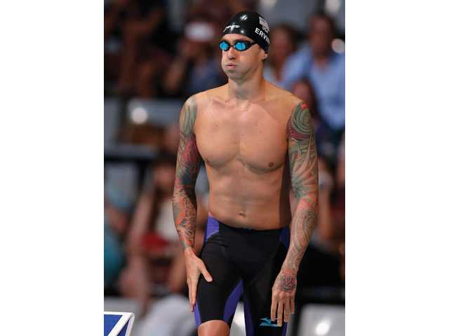 Hart graduate Anthony Ervin prepares to start the Men's 50m freestyle final at the FINA Swimming World Championships in Barcelona, Spain on Saturday.
