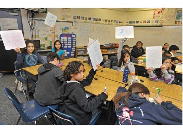 Students in a fourth- and fifth-grade combination class at Cedarcreek Elementary School in Canyon Country in 2012. Test scores released Thursday show a majority of students throughout Santa Clarita Valley elementary schools scored above proficient on standardized tests. Signal file photo