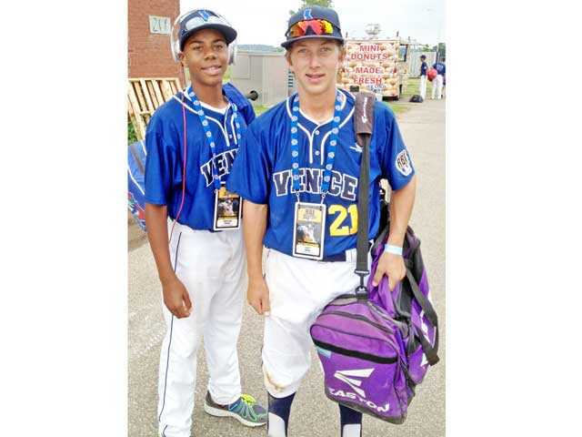 Hunter Greene, left, of Stevenson Ranch and Scott Ogrin, of Valencia, played for a team that won the Junior RBI World Series at Target Field in Minneapolis.