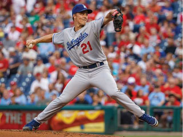 Los Angeles Dodgers starting pitcher Zack Greinke throws to the Philadelphia Phillies on Friday in Philadelphia.