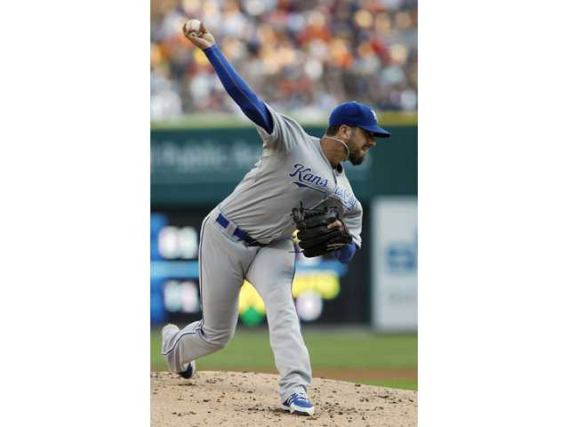Kansas City Royals pitcher James Shields delivers against the Detroit Tigers in the first inning Friday in Detroit.