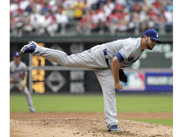 Los Angeles Dodgers starting pitcher Ricky Nolasco throws against the Philadelphia Phillies on Sunday in Philadelphia.