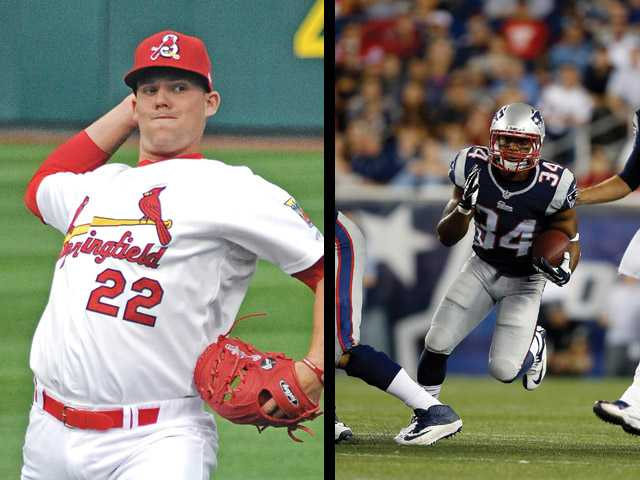 (Left) Valencia High graduate Casey Mulligan chose to play professional baseball over taking a scholarship to Cal State Fullerton. (Right) Valencia graduate Shane Vereen left Cal for the NFL only after achieving his degree.