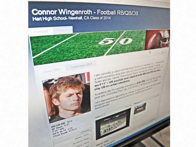 A computer screen shot shows the football profile website for Hart senior running back Connor Wingenroth.