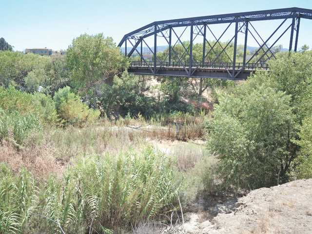 The Santa Clara River bed as viewed from the 1898 railroad trestle bridge at the Iron Horse Trailhead in Valencia on Friday. Photo by Dan Watson.