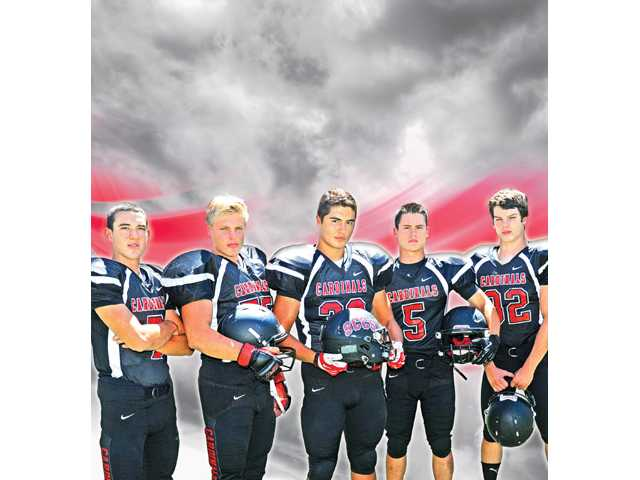 Santa Clarita Christian teammates from left, Jonathan Saavedra, Danny Blake, Derek Lewis, Jacob Nogle and Shephard Smith will play pivotal roles in the Cardinals' 2013 season. SCCS is looking to rebound after missing out on the 2012 CIF-Southern Section Northern postseason last year.