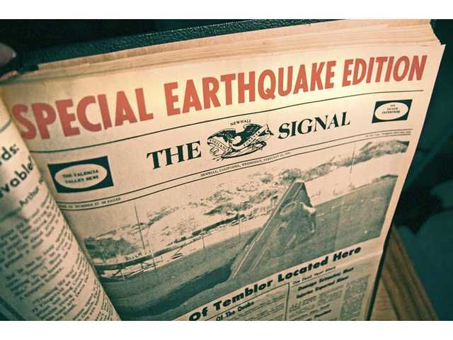 An edition of The Signal newspaper in February 1971 is shown after the Sylmar earthquake.