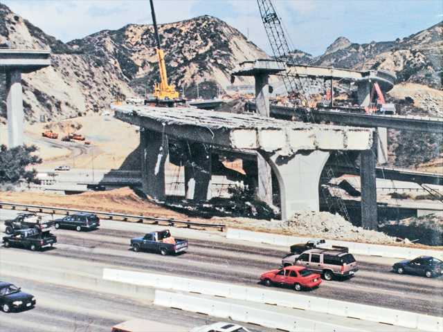 This file photo shows heavy damage in the aftermath of the 1994 Northridge earthquake.