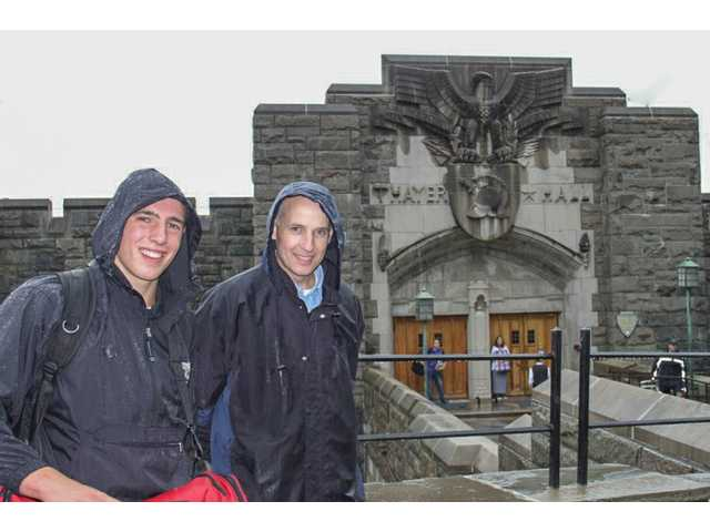 Trinity senior Spencer Klehn with his father, Russ Klehn, at the U.S. Military Academy at West Point, NY, after his week-long Cadet training session.