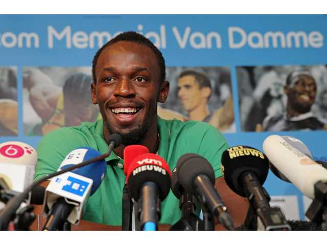 Athlete Usain Bolt of Jamaica addresses the media at the Sheraton hotel in Brussels on Wednesday. Bolt arrived in Brussels to participate in the Diamond League Memorial Van Damme Track and Field meeting on Friday.